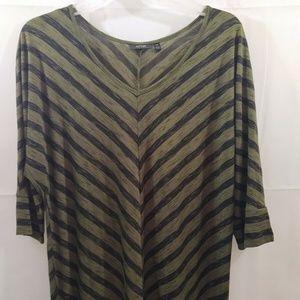 Green & Black Diagonal Stripe Blouse Top XXL